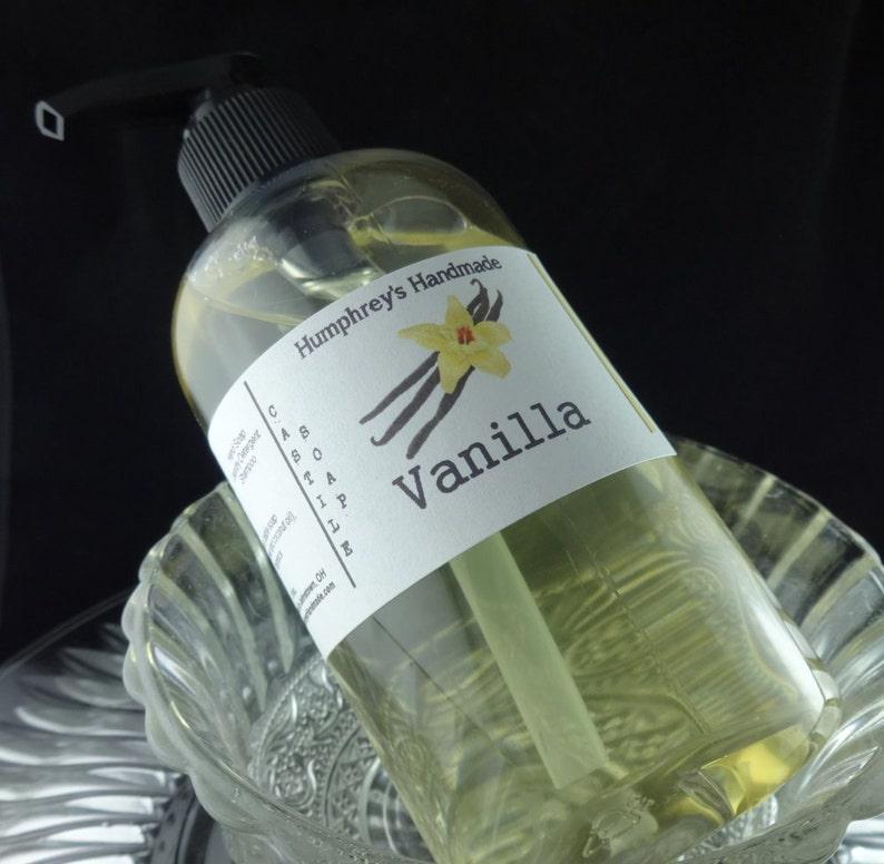 VANILLA Body & Beard Wash, 8 oz, Unisex Warm Vanilla Scent Castile Soap,  Shampoo, Shower Gel Seasonal Bubble Bath Vanilla Sugar