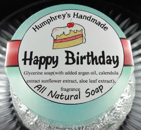 HAPPY BIRTHDAY Soap Cake Scented Shave Shampoo Round