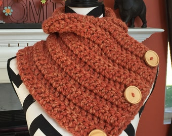 Cowl scarf with buttons. Available in many colors.