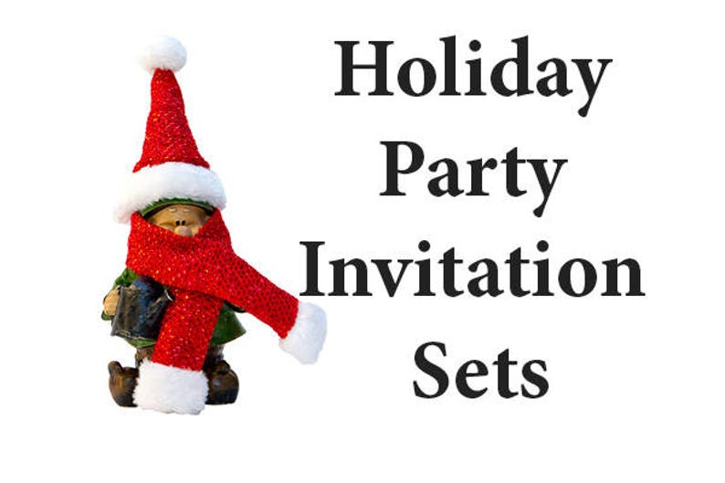 Christmas Party Invitation Set 25 Funny Gnome