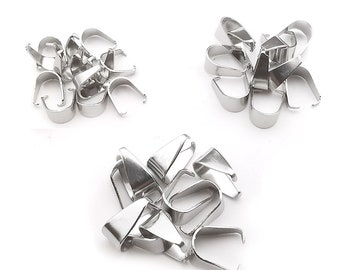 Charming Beads Packet of 4 x Platinum Brass 7 x 21mm Glue on Pinch Bails For Pendants Y04455