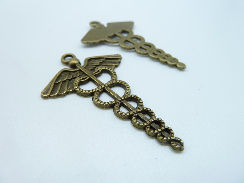 10pcs 30x48mm Antique Bronze Hermes Caduceus Snake Key Etsy
