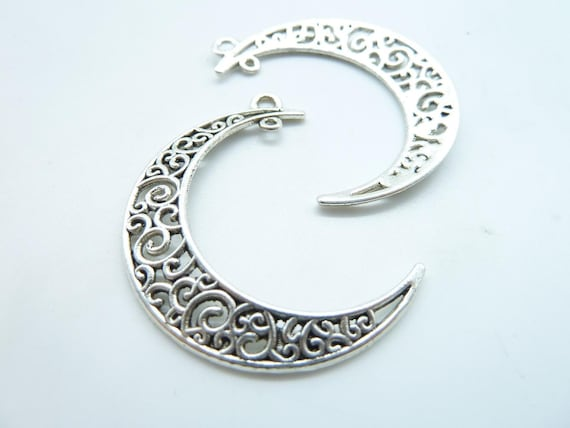 10pcs Antique Silver Filigree Moon Shape Earring Findings Necklace Pendant Jewel