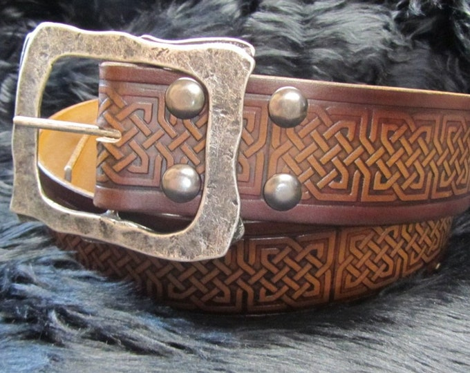 Featured listing image: Customizable 2.25 inch, Large Celtic Square Knot Design Pirate, or Kilt Belt