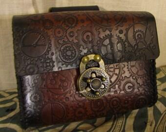 Customizable Steampunk Gear Cog Design Small Leather Belt Bag / Pouch Medieval, LARP, SCA, Costume, Ren Faire