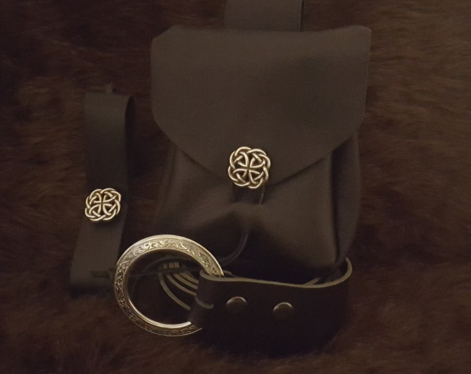 Featured listing image: Medieval Reenactment Plain Economy Package 1, Leather Pouch, Belt, Mug Strap
