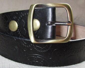 Customizable 1 1/2 inch, Steampunk Gear Design Leather Work or Casual Belt