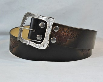 Leather Kilt or Pirate Belt Customizable 2 1/4 inch, Black & Brown, Tribal Owl Design