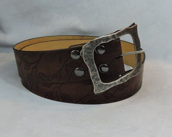 Customizable 2.25 inch, Leaf Silhouette Design Leather Pirate, or Kilt Belt