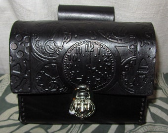 Customizable Leather Belt Pouch, Steampunk, Clocks, Medium Bag, Hip Bag, LARP, Role Play