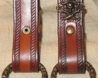 Customizable Rope Edge Design Leather Skirt Chasers, Set of 2 Skirt Hikes, LARP, Steampunk, SCA