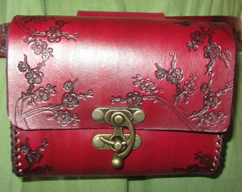 Customizable Medium Cherry Blossom Design Leather Belt Bag / Pouch Medieval, Bushcraft, LARP, SCA, Costume, Ren Faire