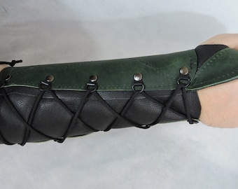 Customizable Right Arm Stiff Medium Weight Leather Archery Bracer Arm Guard, One Size Fits Most