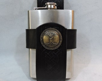 Customizable Celtic 8oz Hip Flask Holder, with decorative Medallion
