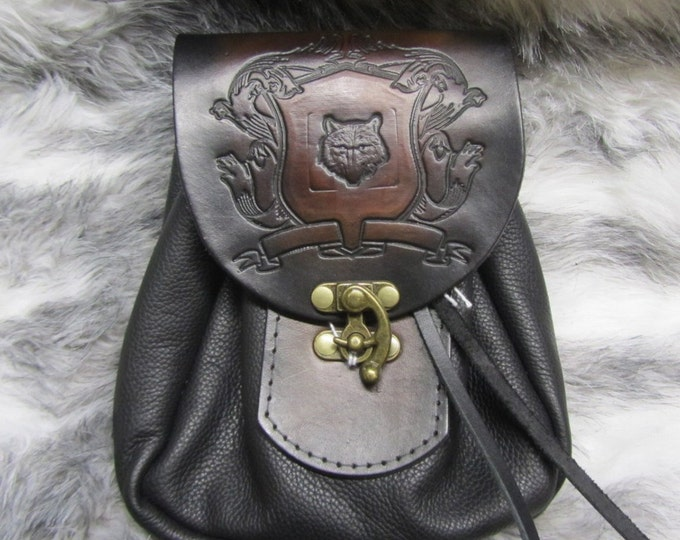 Featured listing image: Customizable Medium Sporran Design Leather Belt Bag / Pouch Medieval, Bushcraft, LARP, SCA, Costume, Ren Faire