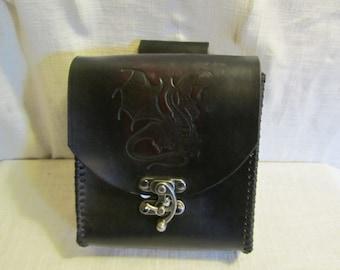 Customizable Large Decorative Stamp, Large Leather Belt Bag / Pouch Medieval, Bushcraft, LARP, SCA, Costume, Ren Faire