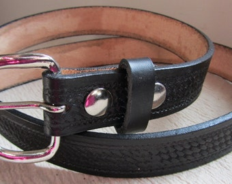 Customizable 1 1/4 inch, Basket Weave Design Leather Work or Casual Belt