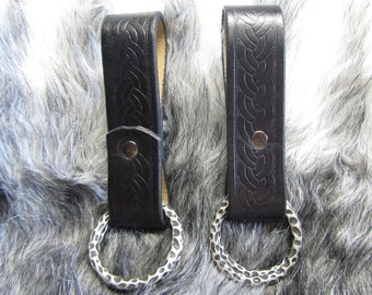 Customizable Braid Design Leather Skirt Chasers, Set of 2 Skirt Hikes, LARP, Steampunk, SCA