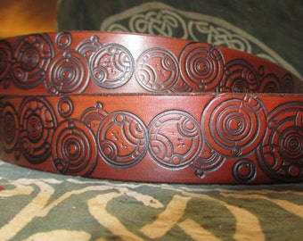 Customizable 1 1/2 inch, Lord of Time Circle Leather Ring Belt, Work, Dress, Everyday