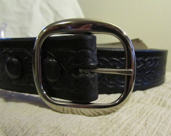 Customizable 1 1/2 inch, Celtic Braid Design Leather Work or Casual Belt