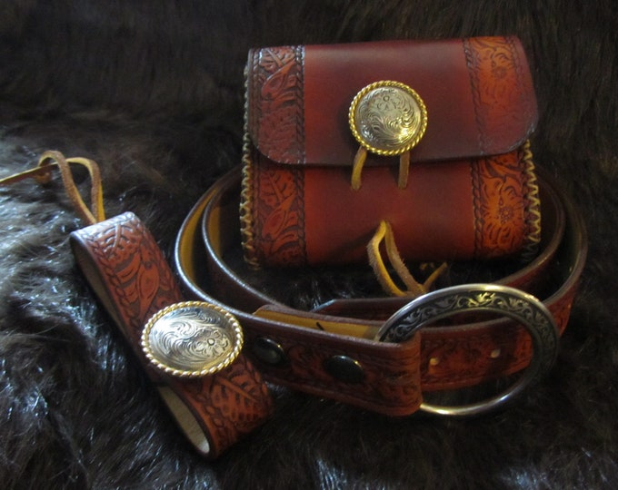 Featured listing image: Medieval Reenactment Floral Rope Edge Package 2, Leather Pouch, Belt, & Mug Strap