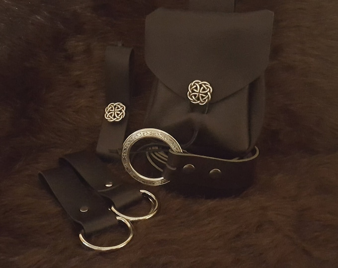 Featured listing image: Medieval Reenactment Plain Economy Package 2, Leather Pouch, Belt, Skirt Hikes & Mug Strap