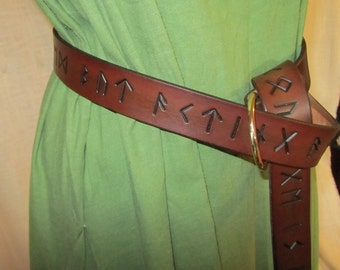 Custom Name or Phrase Inscription added to Earthly Leather Design Elder Futhark Rune Products