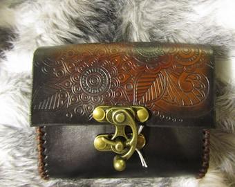 Customizable Medium Tribal Flower Design Leather Belt Bag / Pouch Medieval, Bushcraft, LARP, SCA, Costume, Ren Faire