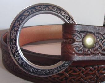 Customizable 1 1/2 inch, Celtic Braid Design Leather Ring Belt, Medieval, Renaissance, SCA, Fantasy