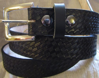 Leather Work or Casual Belt Customizable 1 1/2 inch, Basket Weave Design