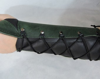Customizable Left Arm Stiff Medium Weight Leather Archery Bracer Arm Guard, One Size Fits Most