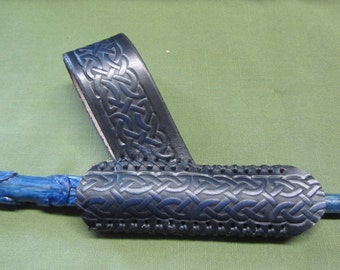 Customizable Leather Celtic Braid Wand Sheath, Holder, & Holster, for 3/4in Diameter Wand