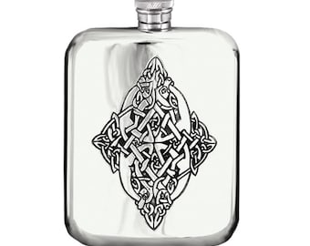 6oz Pewter Celtic Hip Flask