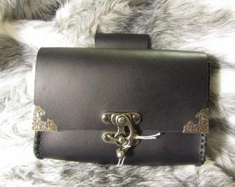 Customizable Black Medieval Belt Bag, Belt Pouch Medium, Leather Bag, LARP, SCA, Costume, Ren Faire