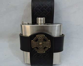 Customizable Celtic 6oz Hip Flask Holder, with decorative Medallion