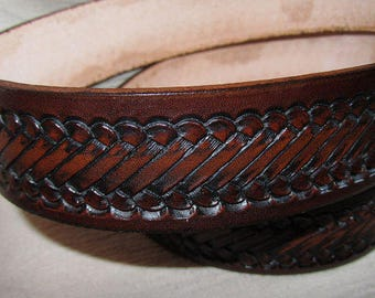 Customizable 1 1/2 inch, Rope Design Leather Ring Belt, Medieval, Renaissance, SCA, Fantasy