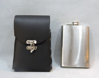 Customizable 8oz Hip Flask or Cell Phone Leather Belt Pouch