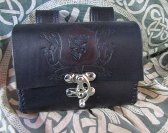 Customizable Family Crest Design Leather Belt Bag / Pouch Medieval, LARP, SCA, Costume, Ren Faire