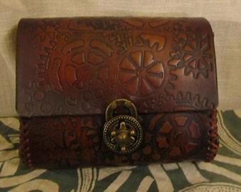 Customizable Steampunk Antiqued Gear Cog Design Medium Leather Belt Bag / Pouch Medieval, LARP, SCA, Costume, Ren Faire