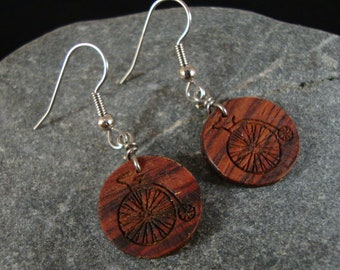 Small Round Dangle Earrings, Hoop Earrings, Old Bicycle, Bicycle Earrings, Bike Earrings, Biker Earrings, Natural and Eco Friendly Jewelry