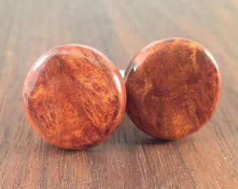 Round Wooden Men's Cuff Links - Walnut Burl Wood - Wedding, anniversary - Natural and Eco Friendly Jewelry
