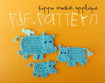 Crochet Pattern Hippo Appliqué, 3 sizes, Hippopotamus Family with little bird tutorial, DIY application with crochet diagram and pictures