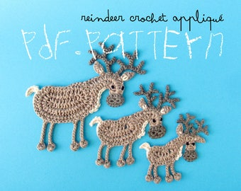 Crochet Pattern Reindeer Appliqué, 3 sizes, caribou deer tuto, DIY project patch with crochet diagram and pictures, wild game animal