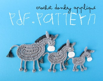 Crochet Pattern Donkey Appliqué, 3 sizes, jackass horse tuto, DIY project application with crochet diagram and pictures