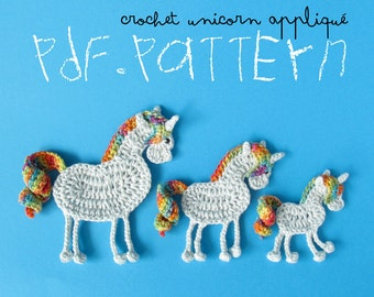 Crochet Pattern Unicorn Appliqué, 3 sizes, Myth Horse with curly tail tutorial, DIY project application with crochet diagram and pictures