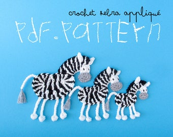 Crochet Pattern Zebra Appliqué, 3 sizes, black and white horse tuto, DIY project application with crochet diagram and pictures