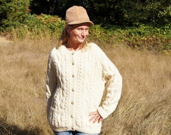 Chunky Shetland New Wool Fisherman's Cardigan Sweater