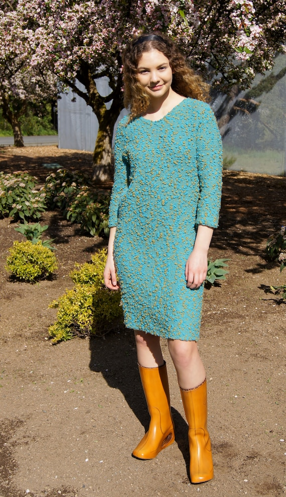60's Mod Nubby Knit Blue and Green Dress