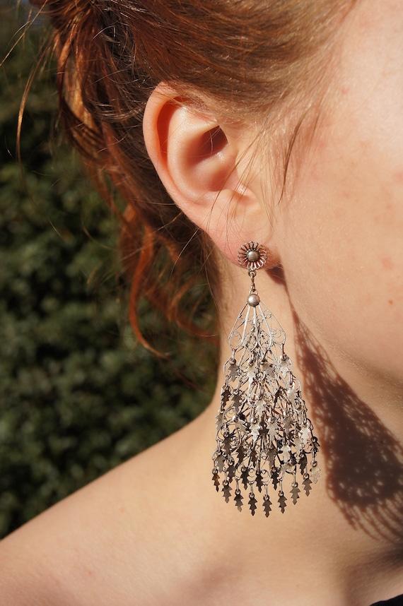 Silver Filigree Chandelier Gypsy  Earrings