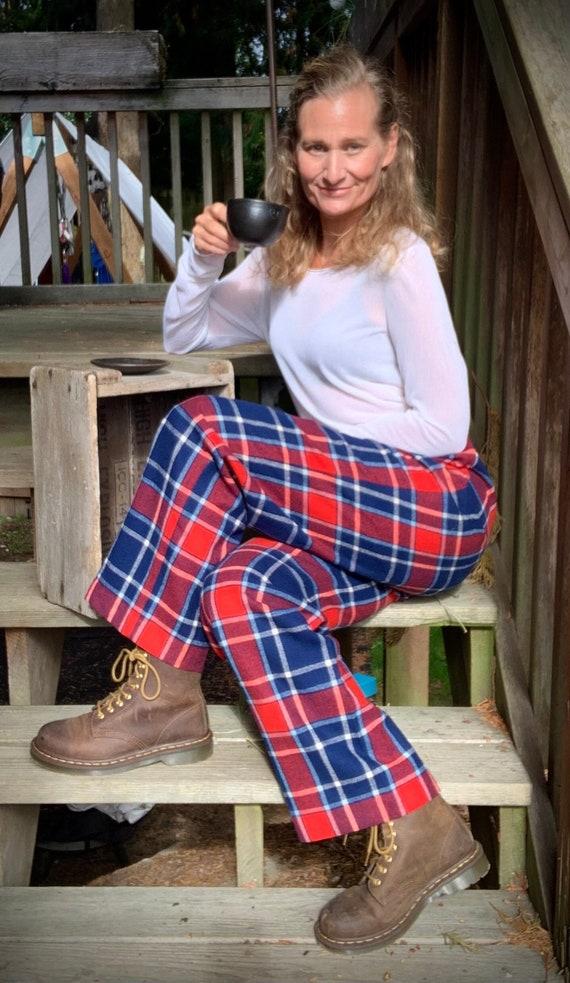 Vintage Wool Pendleton Plaid Red Blue Tartan Pants